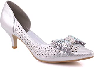 """Unze Women """"LUSIA"""" Cut Out Bow Girls Pump Shoes Formal Mid-Low Heel Slip on Pointy Toe Party Courts UK Size 3-8 - 1381-12"""