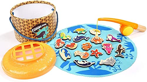 Xyanzi Kinderspielzeug Jeu de Pêche Magnétique Péche à la Ligne Puzzles in Bois Jouet Premier Age Nachlass für Nachwuchs Julx de Société Canne à Pêche für Les Enfants Bébés Gar s Filles