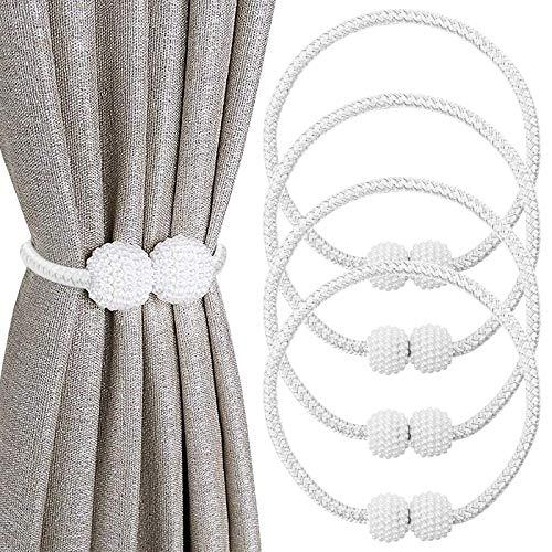 Werpower Magnetische Raffhalter für Gardinen 4 Stück Perle Kugel Vorhang Clips Seil, Vorhang Halter Schnallen Vorhang Binder zur Dekoration von Wohnzimmer, Büro und Schlafzimmer