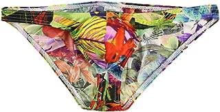 COMVIP Men's Floral Printed Sexy Underwear Bulge Pouch Brief Bikini