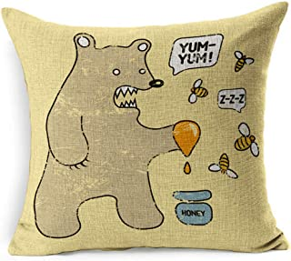 Ahawoso Linen Throw Pillow Cover Square 16x16 Balloon Retro Funny Bear Honey Bees Animals Wildlife Angry Bubble Character Child Comic Comical Delicious Eat Pillowcase Home Decor Cushion Pillow Case