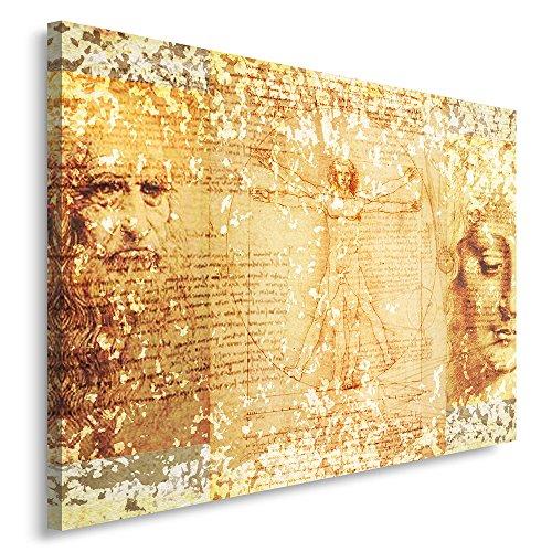 Feeby. Cuadro en lienzo - 1 Parte - 80x120 cm, Imagen impresión Pintura decoración Cuadros de una pieza, ARTE, LEONARDO DA VINCI, VINTAGE, MARRÓN