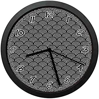 128 buyloii Overlapping Half Circle Arcs Modern Art Deco Style Geometric Composition Cream and Charcoal Grey Wall Clock Home Office School Clock 10in
