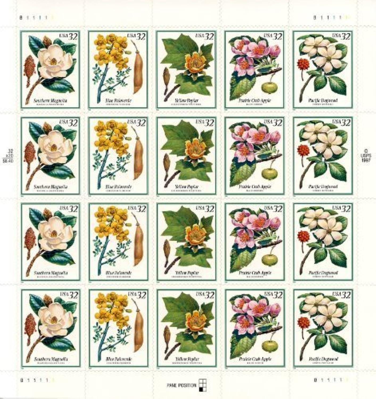 Flowering Trees Full Pane of Twenty 32 Cent Stamps Scott 3193-97 by USPS