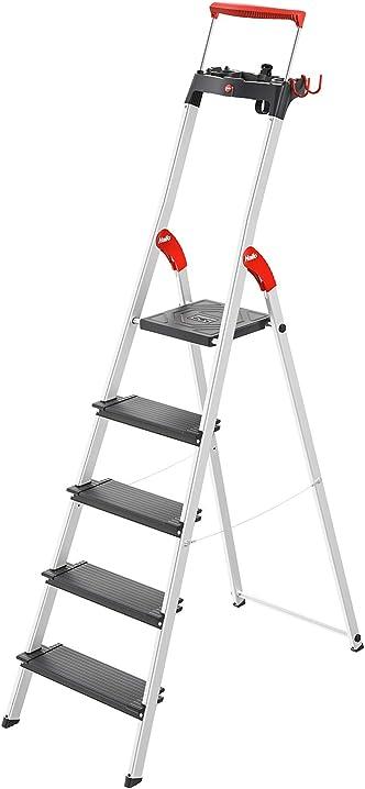 Scala di sicurezza in alluminio, con ciotola multifunzione, staffa di sicurezza estensibile, 5 livelli hailo 8050-507