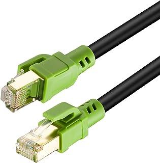 كابل إيثرنت Cat8 خارجي بطول 50 قدم، شديد التحمل 26AWG Cat8 كابل شبكة شبكة الإنترنت LAN 40 جيجابايت،2000Mhz SSTP LAN مع موص...