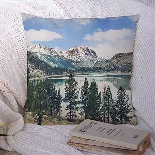 N\A Fundas de Almohada Decorativas para sofá Cama Sofá Invierno Sierra Pine Rock Nevada Montañas Naturaleza Alpino Otoño Mochilero Park Mountain California Funda de cojín Suave