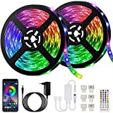 10M Bluetooth Tiras LED Musical 5050 RGB, Akapola Tiras de Luces LED Iluminación con 12V ...