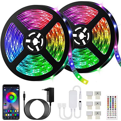 10M Bluetooth Tiras LED Musical 5050 RGB, Akapola Tiras de Luces LED Iluminación con 12V 300 LEDS, Función Musical, Horario Personal, Control de APP y de Control Remoto, Impermeable, Adaptador