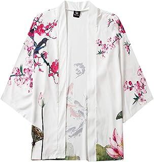 Hombre Cárdigan de Manga Tres Cuartos Camiseta Transpirable Camisetas Manga Corta Japonés Tops de Playa Originales Tallas ...