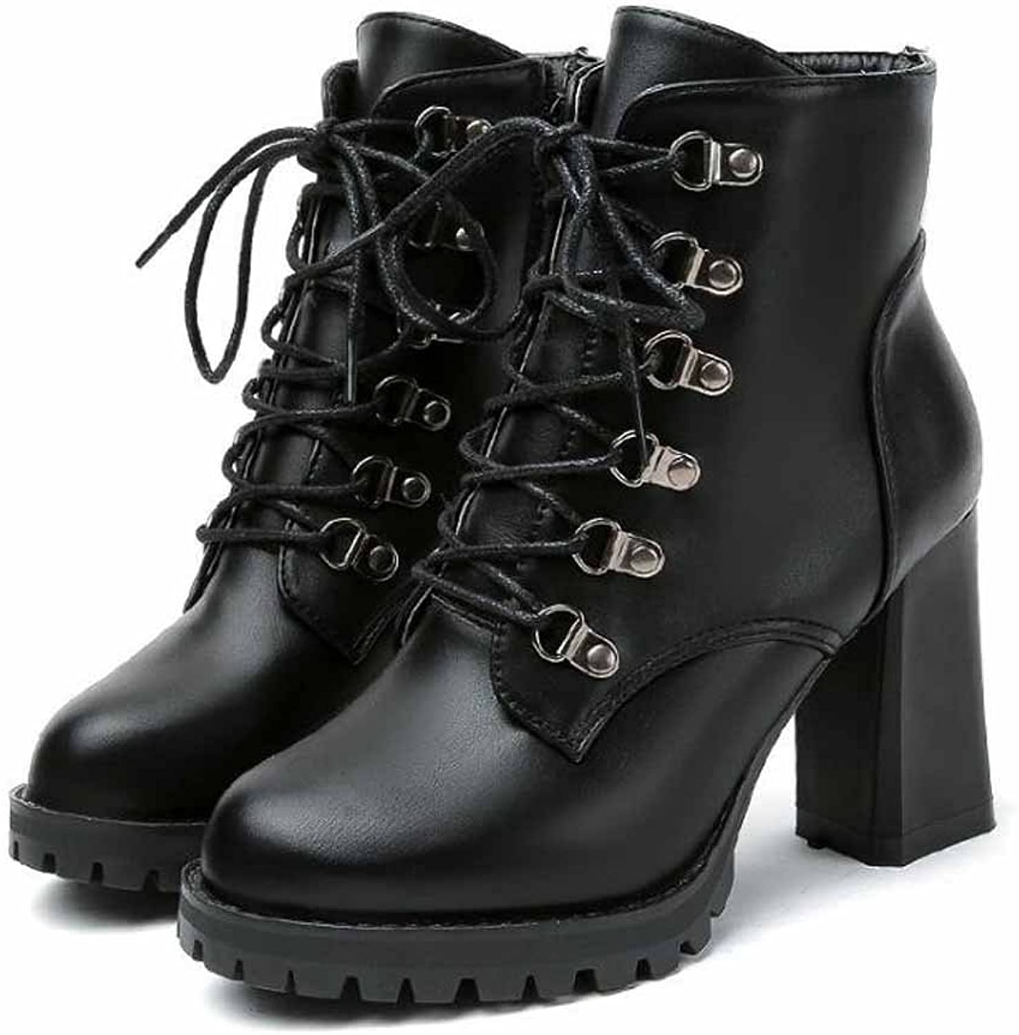 Women's shoes PU Fall Winter Comfort Boots Chunky Heel Booties Ankle Boots Lace-up For Casual Red Black