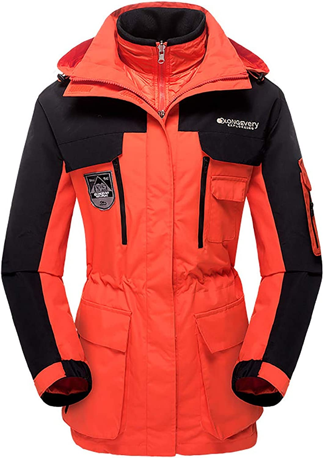 Women's 3-in-1 Windproof Hooded Outwear Coat Winter Thicken Warm Outdoor Sports Jacket Unisex,orange,XL