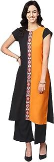 Ziyaa Women's Orange Color Solid Straight Crepe Kurta With Palazzo / Salwar Suit Set