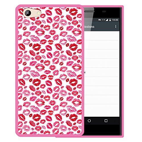 WoowCase Doogee Y300 Hülle, Handyhülle Silikon für [ Doogee Y300 ] Lippen Küsse Liebe Handytasche Handy Cover Case Schutzhülle Flexible TPU - Rosa