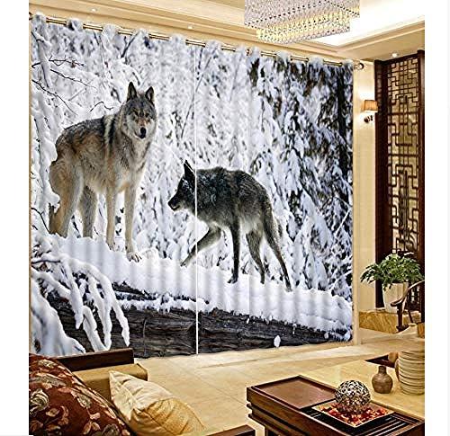 3D Home Decoration Blackout Vorhang Schlafzimmer Gardine Fotodruck Snow Wolf Moderne Fenstervorhänge für Kinder fototapete 3d Tapete effekt Vlies wandbild Schlafzimmer-400cm×280cm