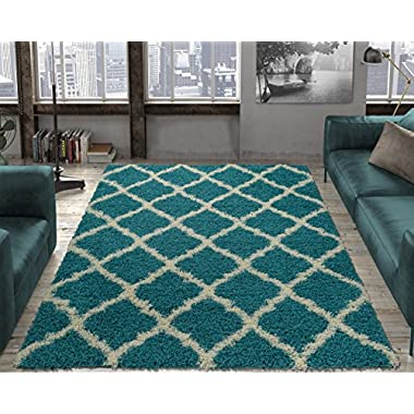 Ottomanson Ultimate Shaggy Collection Moroccan Trellis Design Shag Rug Contemporary Bedroom and Living room Soft Shag Rugs, Turquoise Blue, 5'3  L x 7'0  W