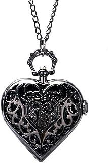 FZYE - Reloj de Bolsillo Charm Negro Oscuro Forma de corazón Diseño Hueco Collar de Cuarzo Cadena Colgante Mujer Chica Regalos encantadores