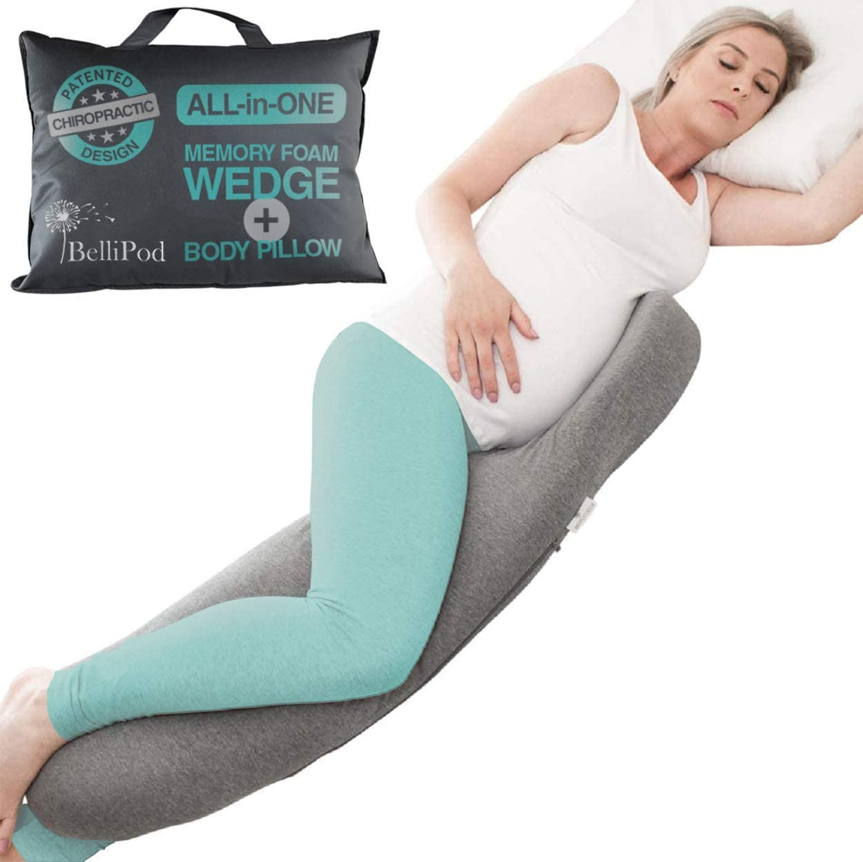 2 in1 Pregnancy Pillows, Chiro Designed Maternity Pillow with 100% Cotton Cover, Pregnancy Body Pillow & Pregnancy Wedge to Support Belly, Knees and Hips - Portable Full Body Pillow for Pregnant Women