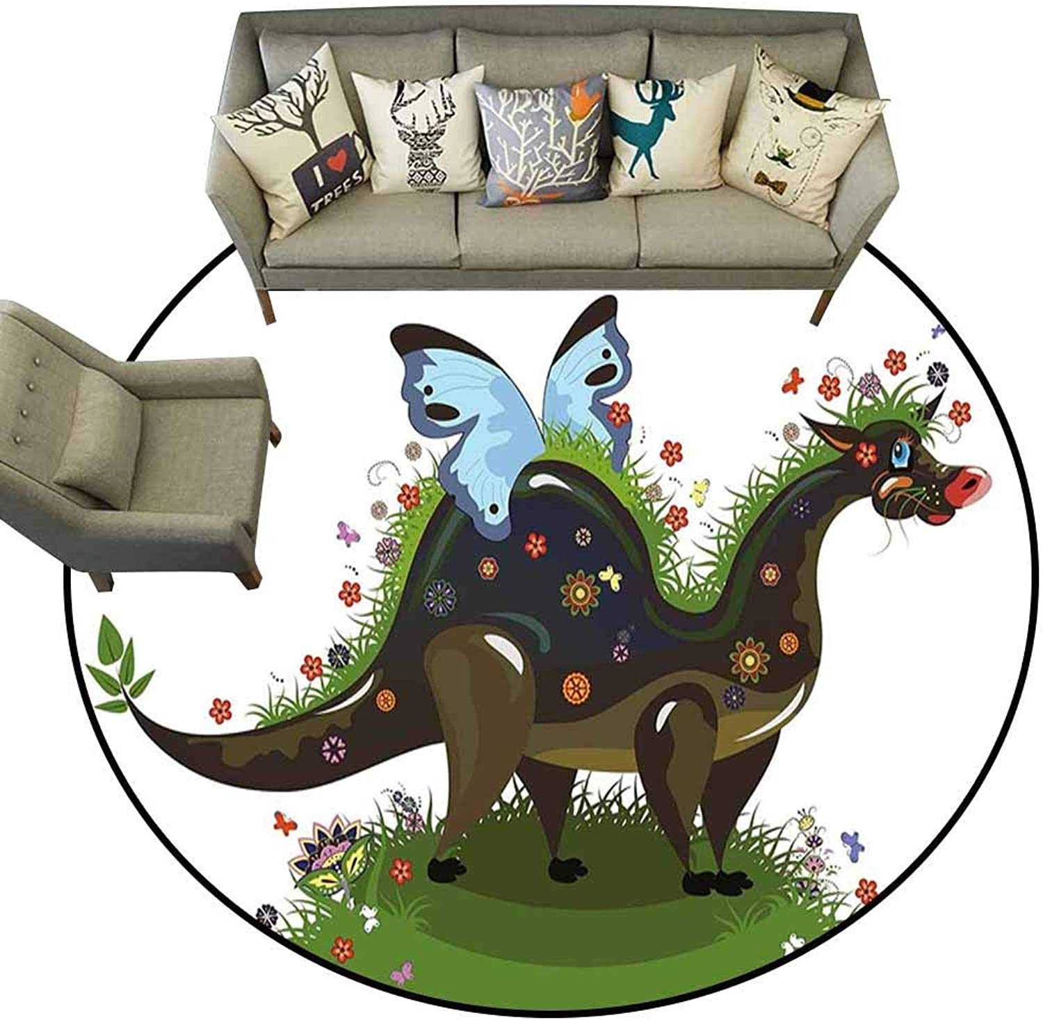 Anti Slip Round Doormat Indoor,Fantasy,Butterfly Riding A Funny Dragon with Flowers Kids Nursery Cartoon,Army and Olive Green bluee,Floor Rug shoes Scraper Door Mat Rug5 feet