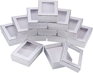 NBEADS 30PCS Silver Gift Boxes Presentation Box with Padding - Birthday Gift Box - Necklace Box Earring Box Ring Box Cardboard Jewelry Boxes 3.54