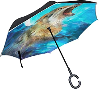 Paraguas Interior Fuera Mejor para Viajes y Uso en Coche Paraguas con Mango en Forma de C Resistente al Viento Paraguas de Pintura en Forma de Lobo ISAOA Paraguas invertido