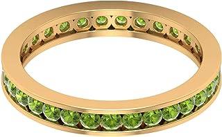 Rosec Jewels - Anillo de peridoto creado en laboratorio de 1,55 quilates, banda de eternidad de canal, anillos de oro (cal...