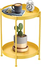 Round Side Table,Gold Metal 2 Tier Tray Metal End Table for Sofa Living Room Tea Table Small Spaces