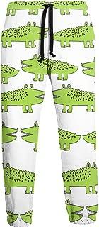 Cyloten Sweatpants Lime Green Mini Alligator Men's Trousers Cotton Baggy Sweatpants Novelty Pants for Daily