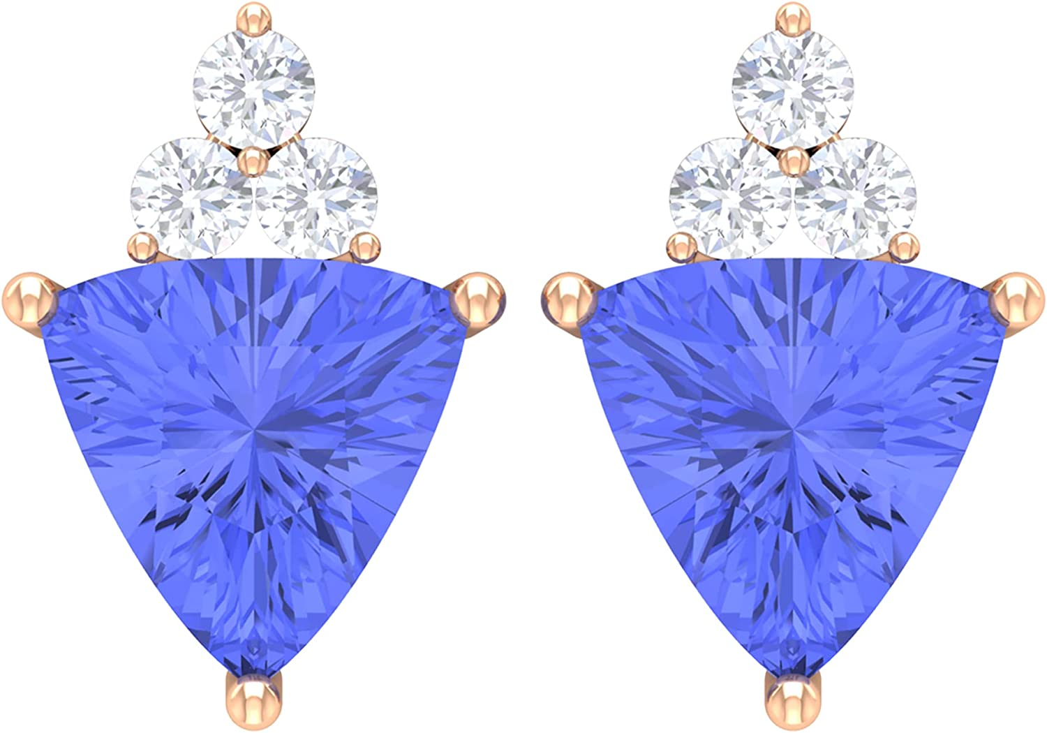 2.25 CT Cocktail Tanzanite and Diamond Accent Stud Earrings,14K Rose Gold,Tanzanite