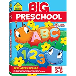 School Zone – Big Preschool Workbook – Ages 4 and Up, Colors, Shapes, Numbers 1-10, Alphabet, Pre-Writing, Pre-Reading, Phonics, and More (School Zone Big Workbook Series)