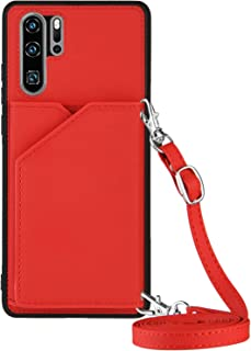 Lanyard plånbok kreditkortsfodral mobiltelefonfodral för Huawei P30 Pro (röd)