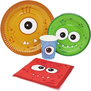 Blue Orchards Monster Party Standard Party Packs (65+ Pieces for 16 Guests!), Monster Party Tableware, Halloween Party Supplies