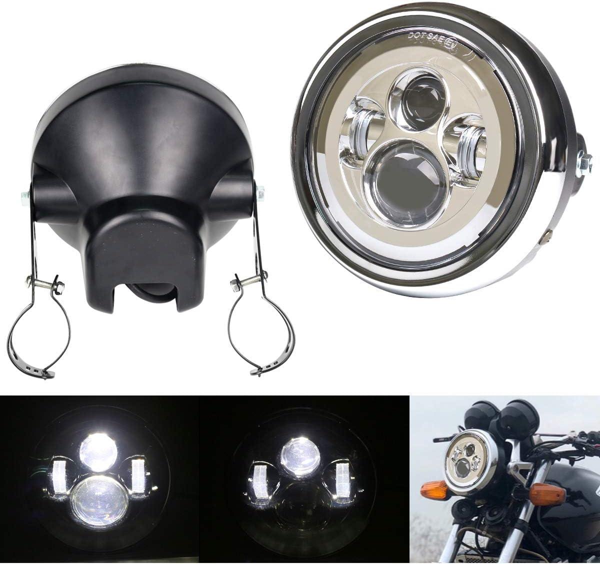 DDUOO 7inch Chrome Motorcycle Headlight with セール開催中最短即日発送 Headligh 送料無料 一部地域を除く