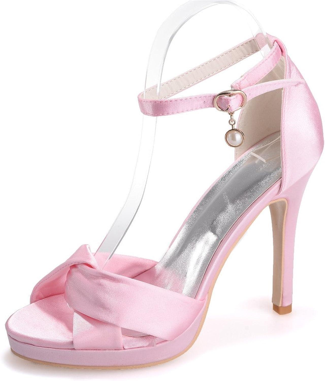 Monie Women's Platform Bridal Bridesmaid Dress Strappy shoes for Wedding Peep Toe High Heels