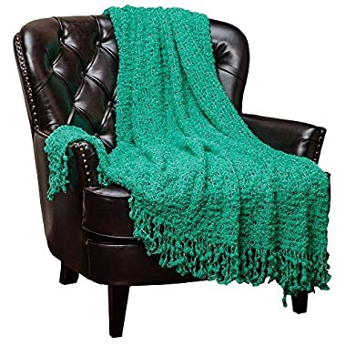 Chanasya Super Soft Beautiful Elegant Decorative Woven Popcorn Texture Couch Bed Aqua Throw Blanket With Ball Fringe- Teal