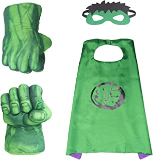 Hulk Hands Fists Costume with Green Cape and Eye-Mask – Complete Set of Hulk Accessories for Kids – Comfortable and Non-De...