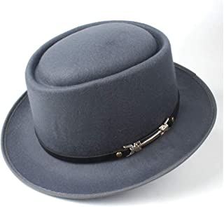 Pork Pie Hat Fedora Trilby Pork Pie Hat with Leather Belt Outdoor Casual Hat Men Women Panama Hat Adult Hat Size 58CM (Color : Gray, Size : 58)
