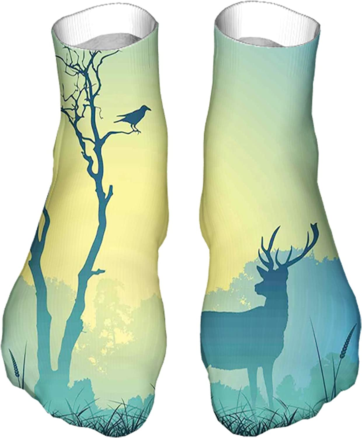 Men's and Women's Fun Socks Printed Cool Novelty Funny Socks,Male Stag Deer on a Meadow with Trees and Bird Foggy