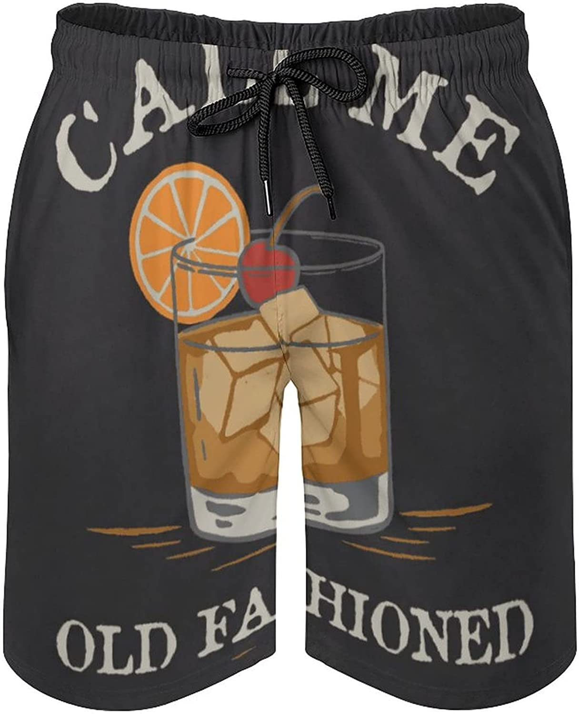 B&MAVIS Call Me Old Fashioned Cocktail Men's Summer Quick Dry Swim Trunks Casual Board Shorts Beachwear for Boys Men