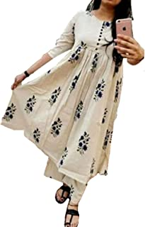 Jaitik Creations Cotton Hand Printed Kurti Palazzo Set for Women's | Kurti with Palazzo Pants Set for Girls (JC_1001)