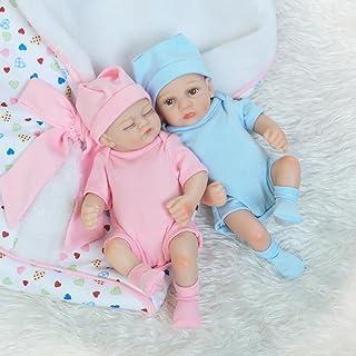 Docooler 10in Reborn Baby Rebirth Doll Kids Gift All Silica Gel Twins