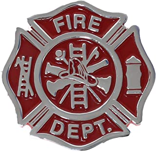 Firefighter Maltese Cross Shaped Metal Auto Emblem (Red & Chrome)