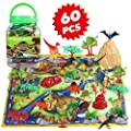 Dinosaur Toy Playset 60 Piece with 26 Educational Realistic Dinosaur Figures, Dinosaur Toy for Boys, Fabric Play Mat, T-Rex, Triceratops, Rocks, Mountain, Trees, Hills, Gift for Kids Girls Ages 3+