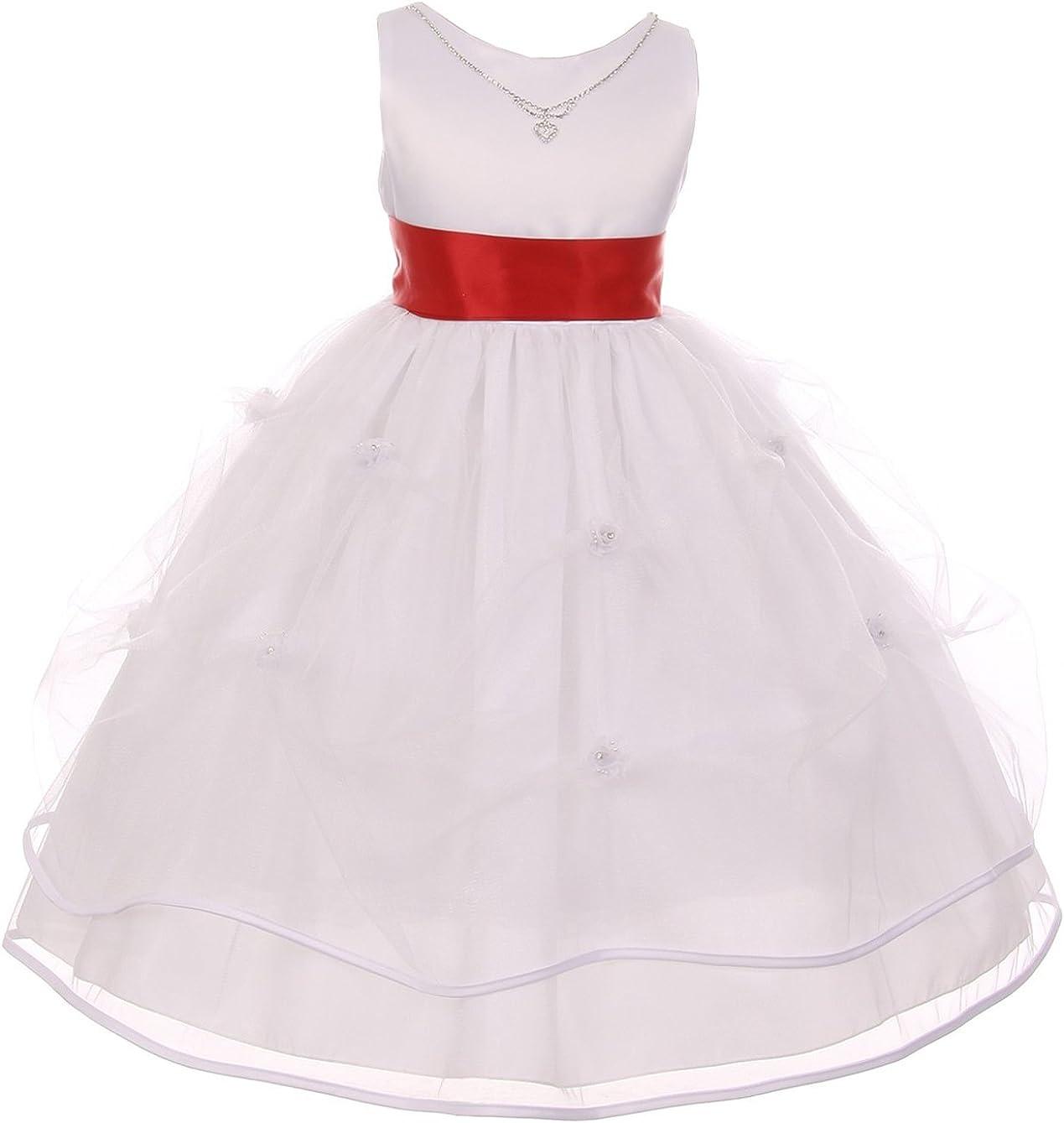 Dreamer Sleeveless Crystal Necklace Tulle Pageant Communion Flower Girl Dress