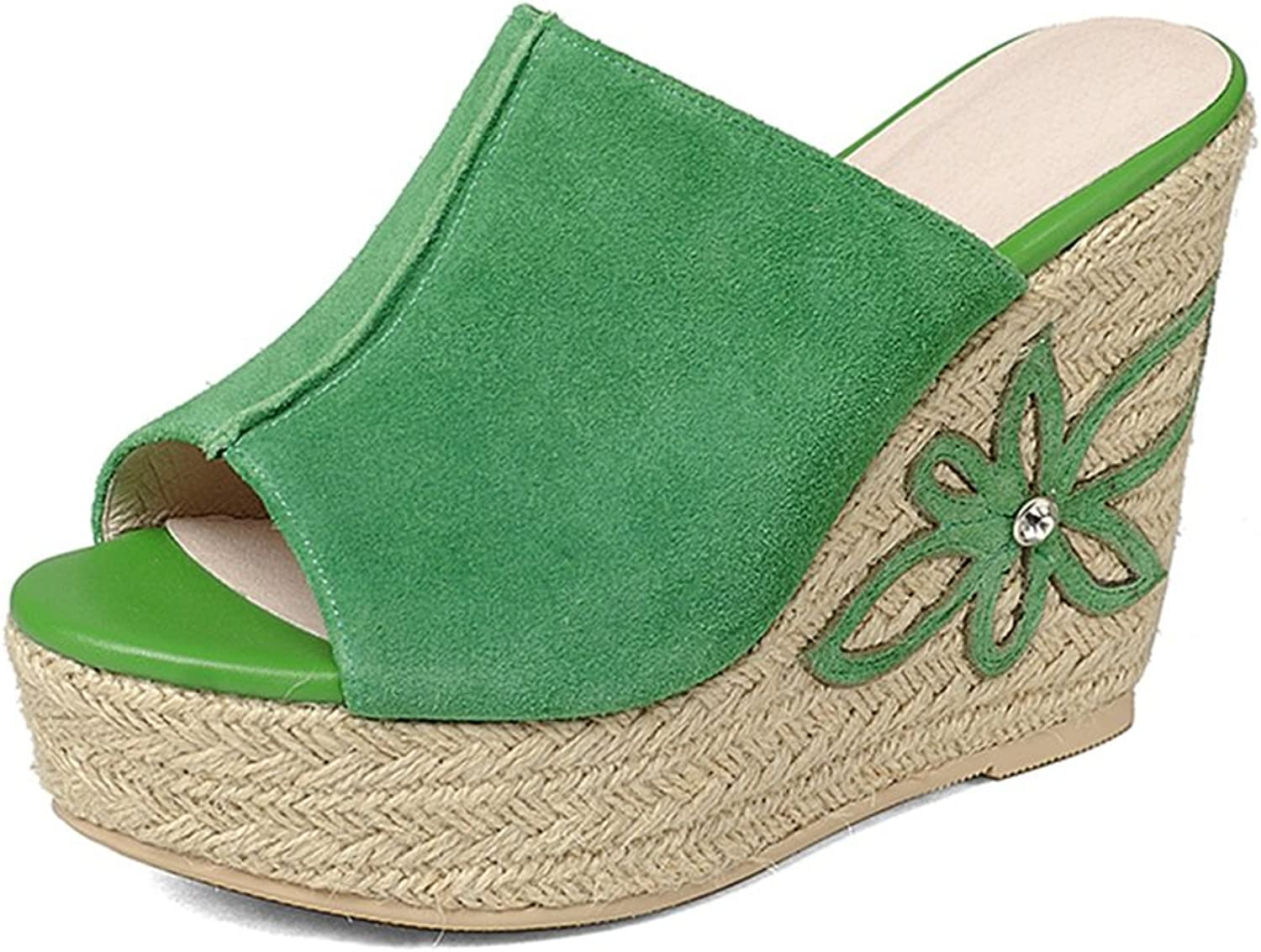 Sandals Slippers Summer New Sandals Women's Summer High Heel Sandals Sandals & Slippers Women's Summer Slippers (11cm High) (color   Green, Size   39)