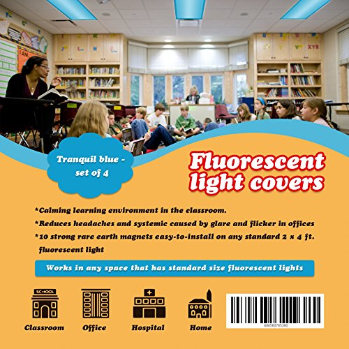 Fluorescent Light Cover 4' x 2' feet (4 pack; tranquil blue). Flame-Retardant Fabric, 10 Strong Magnets, Flame Retardant Certification, Reducing Glare Harsh Flicker, Used in Classroom, Home, Office