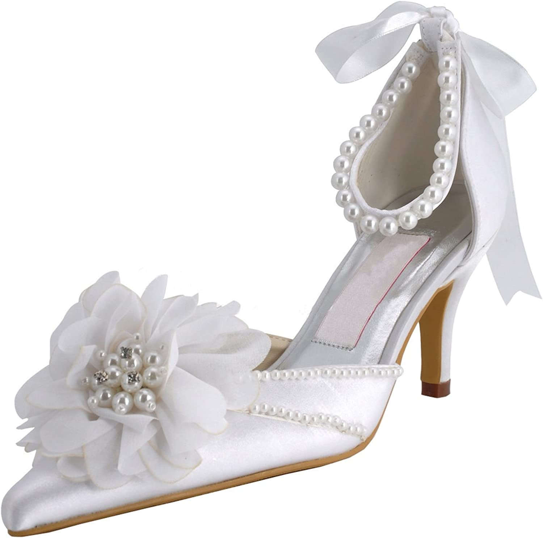 Minitoo Womens Pointy Toe High Heel Beading Satin Bridal Wedding shoes Pump