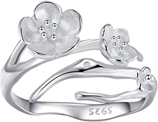 qanyue 925 Sterling Silver Sakura Rings for Women White Crystal Cherry Blossom Open Tail Rings