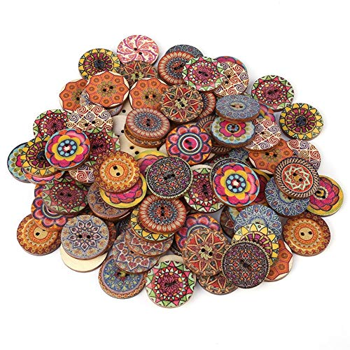 Vintage Wood Buttons - 100 PC mischten Muster Vintage Wood Buttons mit 2 Löchern for DIY nähende Fertigkeit Dekorative 25mm