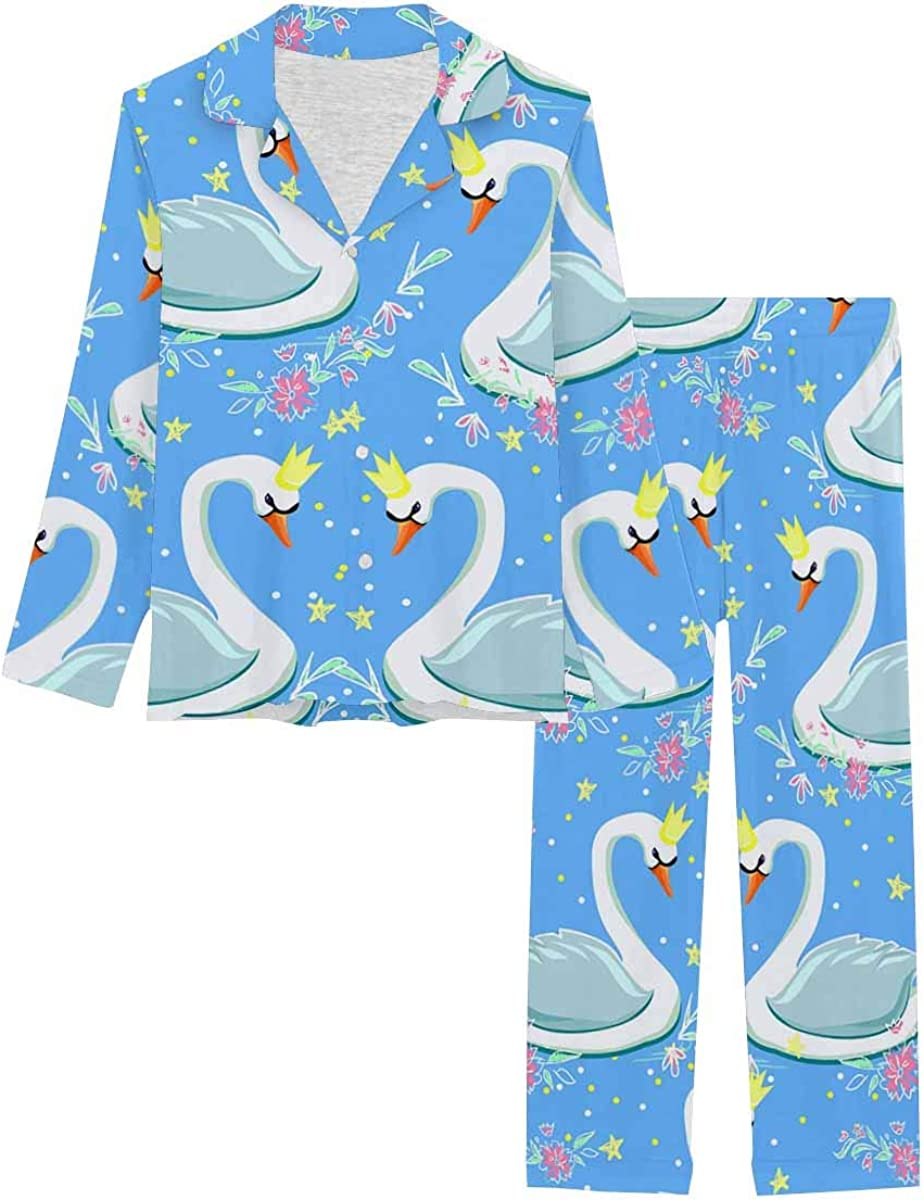 InterestPrint Women's Nightwear Notch Collar Loungewear with Long Pants Swan Background